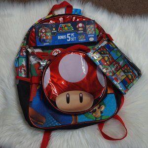 Super Mario 5 Piece Set Backpack Book Bag Lunch ba